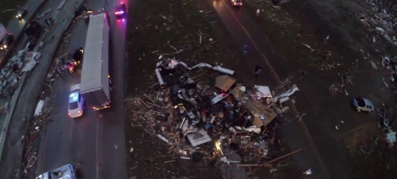 Illustration for article titled Drone Cam Shows Arkansas Tornado's Horrific Path Of Destruction