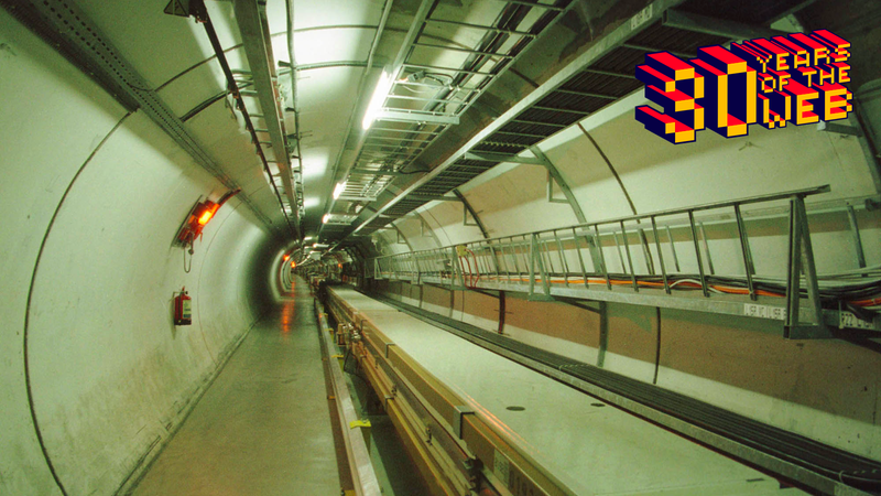 Interior view of Large Electron Positron Collider at CERN in 1997.