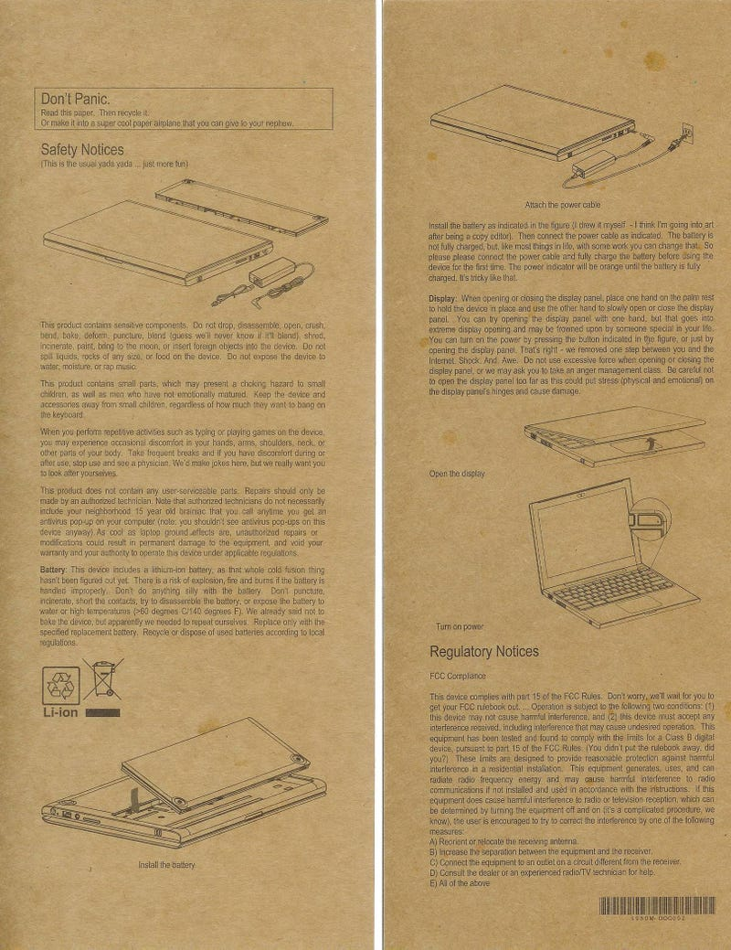 Illustration for article titled Google's Cr-48 Laptop Totally Revolutionizes... Safety Instructions