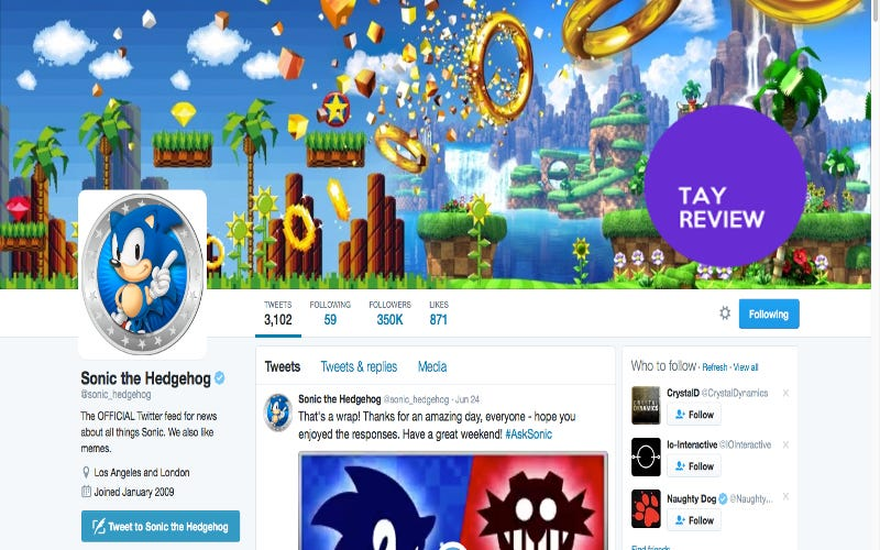 Illustration for article titled Sonic The Hedgehog: The Twitter: The TAY Review