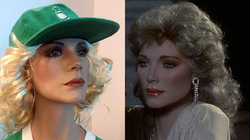 At left: Emmy, in the new Fashion District mall in Philadelphia. At right: Emmy, from the 1987 film Mannequin.