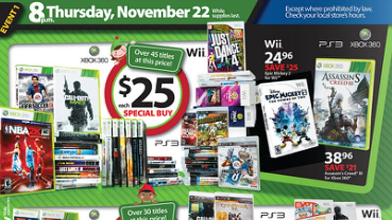 Illustration for article titled Black Friday at Walmart: Dishonored, XCOM for $25, Assassin's Creed III for $39, and More