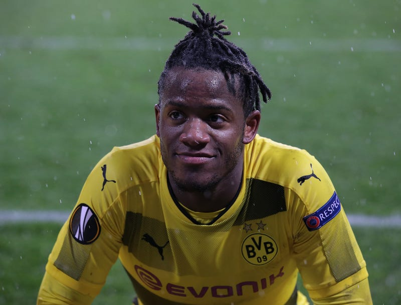 Michy Batshuayi of the Borussia Dortmund soccer team during a game between his team and the Atalanta team Feb. 22, 2018, in Italy. Batshuayi says he heard Atalanta fans make monkey noises at him. (Emilio Andreoli/Getty Images)