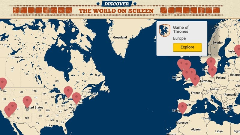 Visit the filming locations of popular movies and tv shows with this map if youve ever wanted to visit the filming locations of movies like star wars the force awakens and ghostbusters or shows like game of thrones and twin gumiabroncs