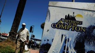 A man walks past Compton City Hall in Compton, Calif., July 19, 2012. The city has no movie theater, forcing residents to go elsewhere to see the 2015 blockbuster Straight Outta Compton.Kevork Djansezian/Getty Images