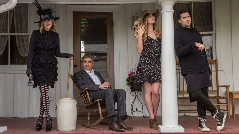 Catherine O'Hara (left), Eugene Levy, Annie Murphy, and Daniel Levy in Schitt's Creek