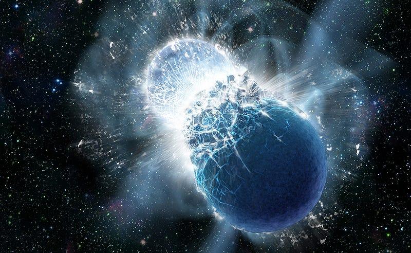 Interpretación artística de la colisión de dos estrellas de neutrones. Imagen: Dana Berry, SkyWorks Digital, Inc./Harvard-Smithsonian Center for Astrophysics