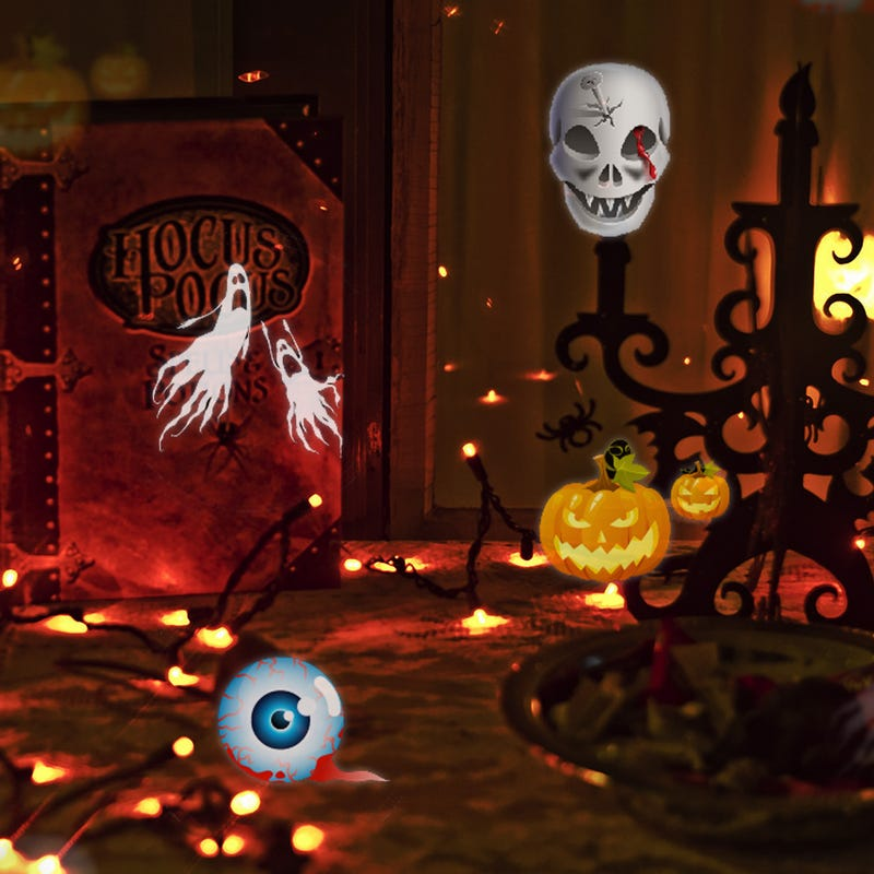 Halloween ,Christmas moving and roating like the real world ,so funny when you project to your wall hall ,bedroom.