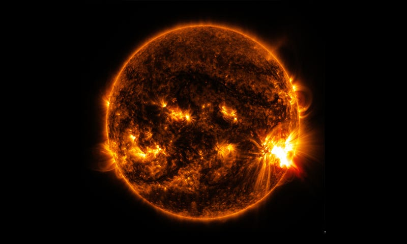 A large, X-class solar flare erupting on the surface of the sun in October 2014. Image: NASA Solar Dynamics Laboratory