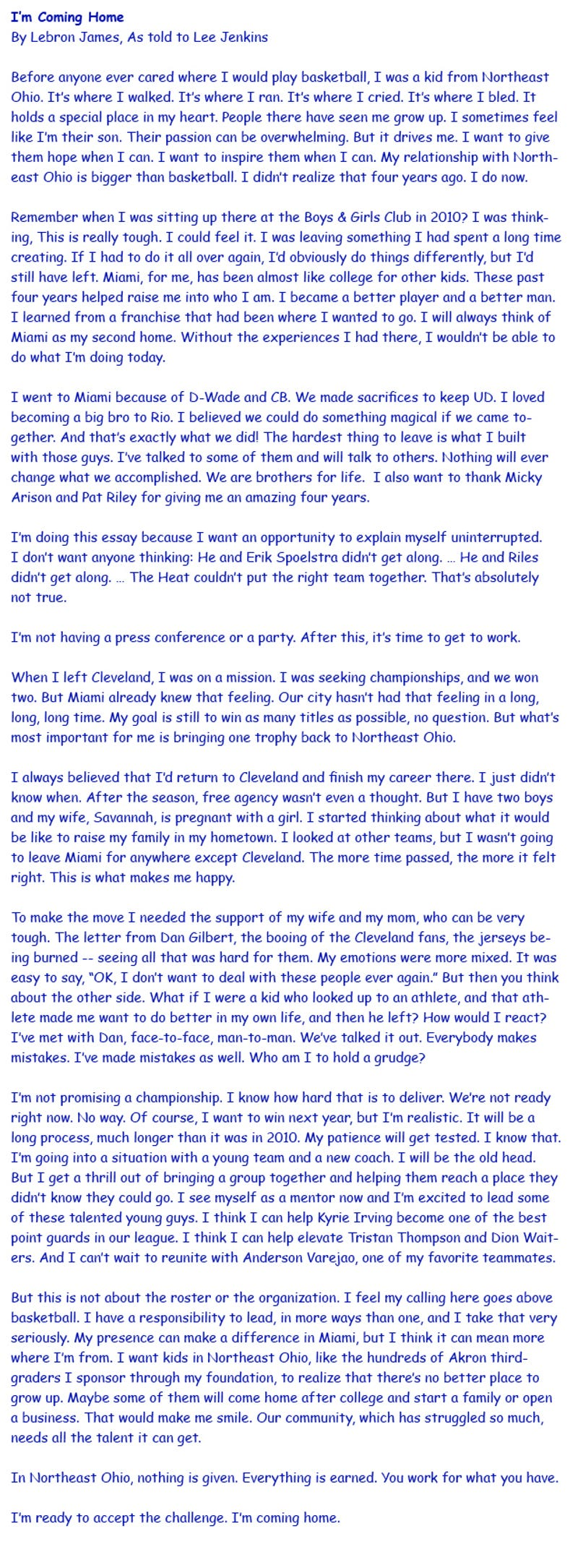 lebron s essay in comic sans