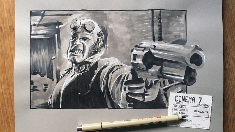Hellboy, art via Design and a Movie.