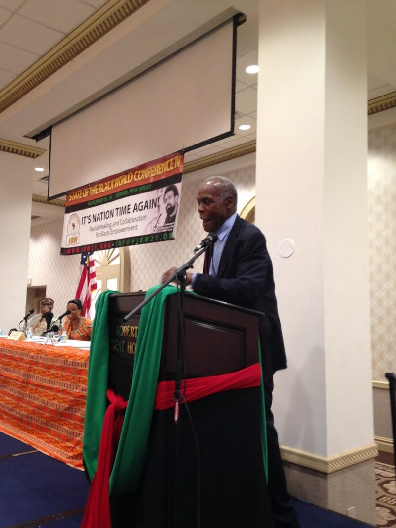 """Activist and actor Danny Glover, honorary chairman of the Institute of the Black World 21st Century Pan-African Institute, speaks at the IBW's State of the Black World IV Conference, held Nov. 16-20, 2016, in Newark, N.J. He said that the purpose of social movements historically was to get the """"freedom to imagine, struggle and create.""""Todd Steven Burroughs"""