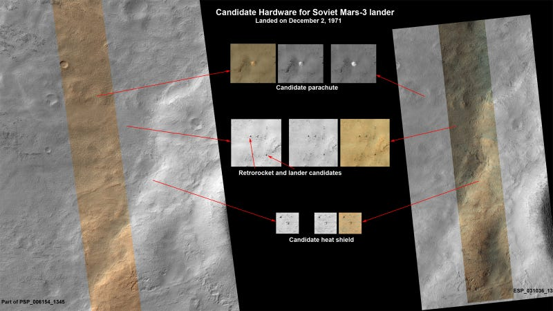 Illustration for article titled Did The US Mars Orbiter Just Find The Soviets' Mars 3 Lander?