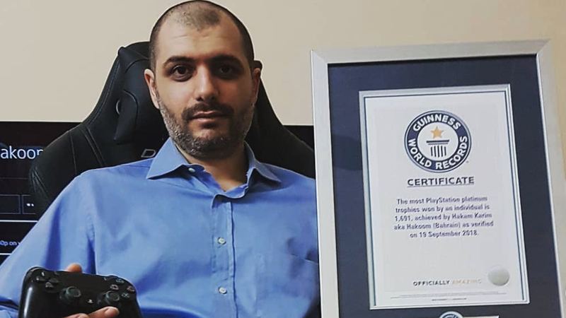 Karim was given a certificate by Guinness World Records in September for having the most platinum PSN trophies in the world.