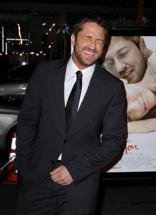 Illustration for article titled Gerard Butler Cracks Self Up; Quickly Returns To Business Of Being Hot