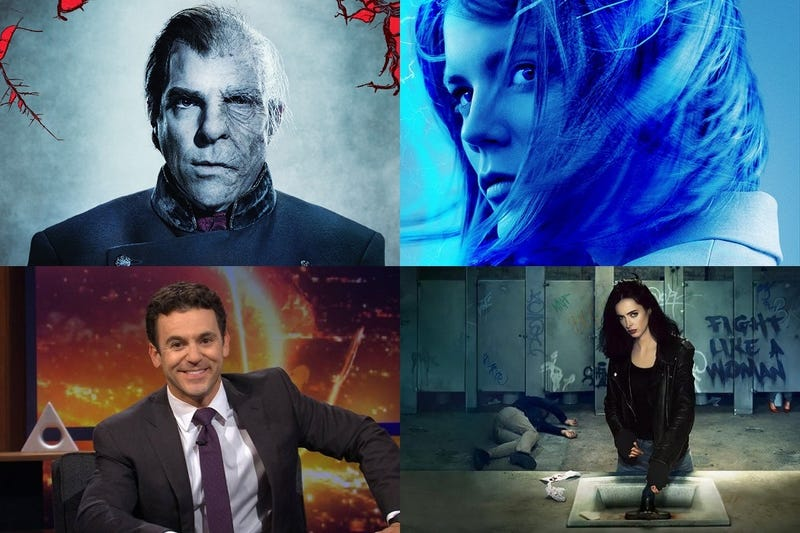 Clockwise from top left: NOS4A2, The Rook, Jessica Jones and What Just Happened??! With Fred Savage.