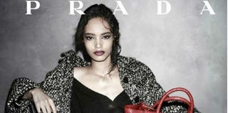 Screenshot of model Malaika Firth in a Prada ad