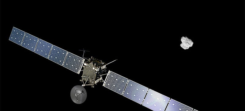 Illustration for article titled Rosetta Is Now the First Ever Satellite to Start Orbiting a Comet