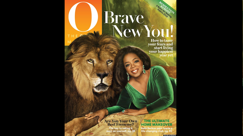 Illustration for article titled Here's Oprah Luxuriating Beside a Lion Because Oprah