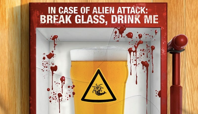Illustration for article titled Learn how booze could save your life in the poster for Grabbers