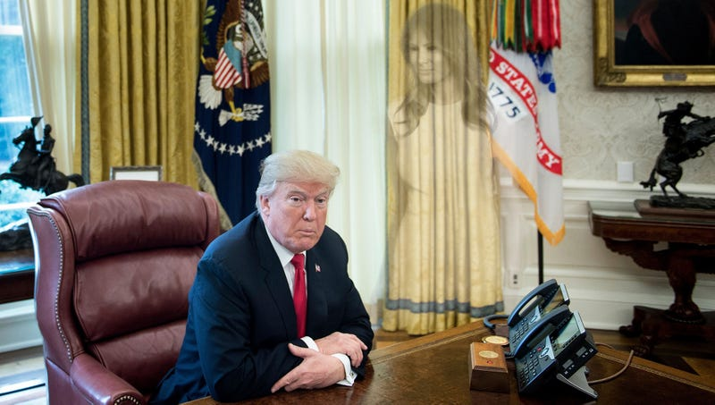 Illustration for article titled White House Photographer Disturbed To Find Faint, Ghostly Image Of Melania Trump In Background Of Every Photo