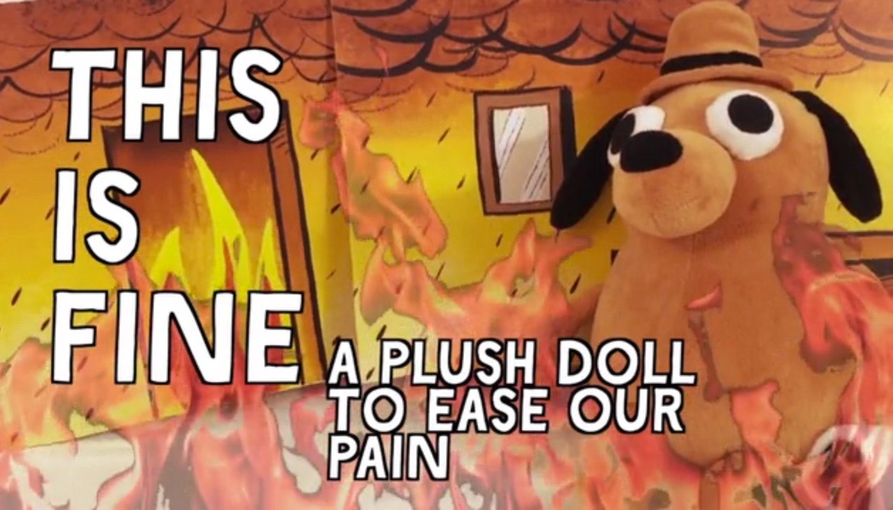 fm9nxlsdulufaquktjv4 the 'this is fine' dog is now a stuffed animal you can buy