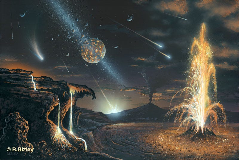 Illustration for article titled This is how the primordial Earth looked — right after the mega-collision that formed the Moon