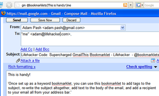 Illustration for article titled Lifehacker Code: Supercharged GmailThis Bookmarklet
