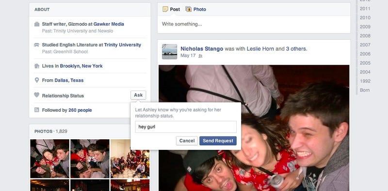 Illustration for article titled Facebook añade un botón para preguntar indiscreciones a otros usuarios