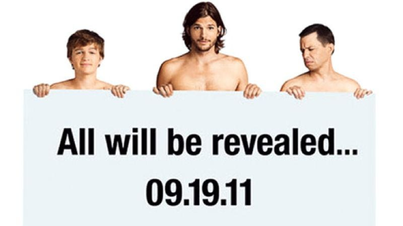 Illustration for article titled FINAL UPDATE: Let's all Photoshop the dumb new Two And A Half Men poster