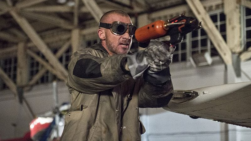 "Dominic Purcell, preparing to launch another laser-guided ""fire"" pun"