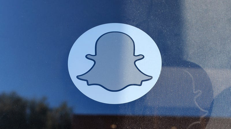 Logo of Snapchat is seen at the front entrance new headquarters of Snapchat in 2013.
