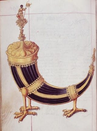 German, drinking horn decorated with a statuette of St. Maurice. Illustration from the Hallesche Heiltumsbuch, 1525-27. Colors on parchment, 350 by 250 mm.Hofbibliothek, Aschaffenburg, Germany