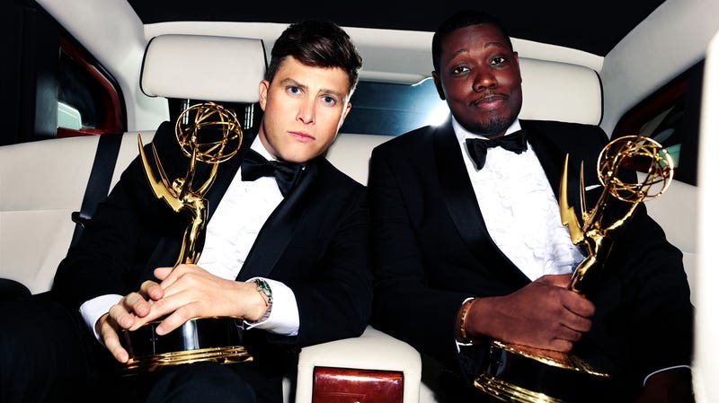 Emmy hosts Colin Jost (left) and Michael Che
