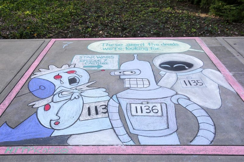 Illustration for article titled Lucasfilm's Sidewalk Art Event made for some amazingly nerdy Chalk Art