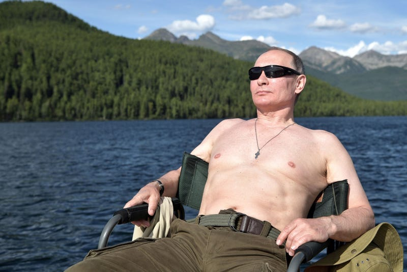 Illustration for article titled Here is a fresh new gallery of Vladimir Putin vacation photos for your memeification pleasure