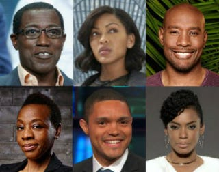 Top row: Wesley Snipes; Meagan Good; Morris Chestnut. Bottom row: Marianne Jean-Baptiste; Trevor Noah; Aunjanue Ellis.Top row: Frederick M. Brown/Getty Images; Fox; Fox. Bottom row: NBC; Comedy Central; ABC.