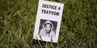 A sign for Trayvon Martin in the lawn of the Seminole County Criminal Justice Center (Scott Olson/Getty Images)