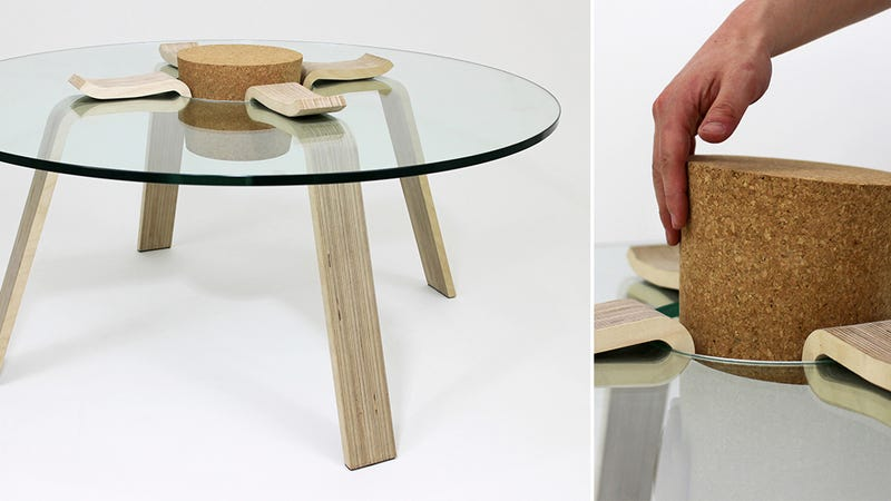 A Functional Cork Keeps This Coffee Table From Collapsing