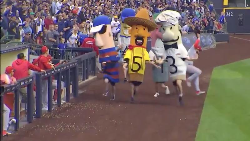Disaster averted as MLB player dodges stampeding sausage