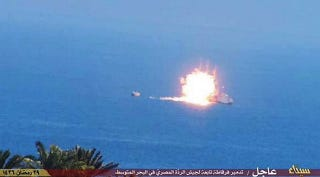 Illustration for article titled Report: Images Show Islamic State Missile Attack On Egyptian Navy Ship