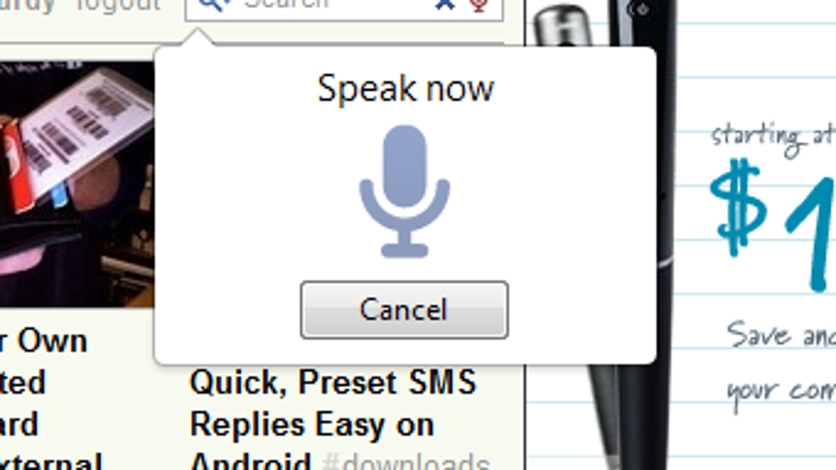 Voice Search for Chrome Searches and Fills Input Boxes with