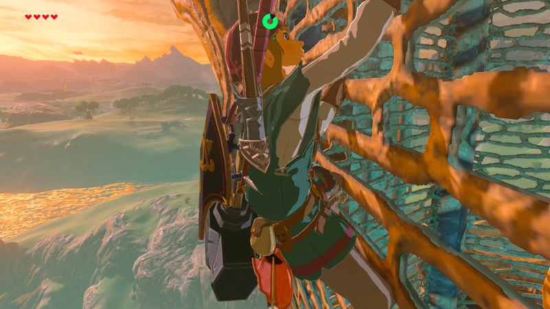 "No mini-map? Just health hearts and a stamina gauge when The Legend of Zelda: Breath of the Wild is set to the ""pro"" heads-up display option."