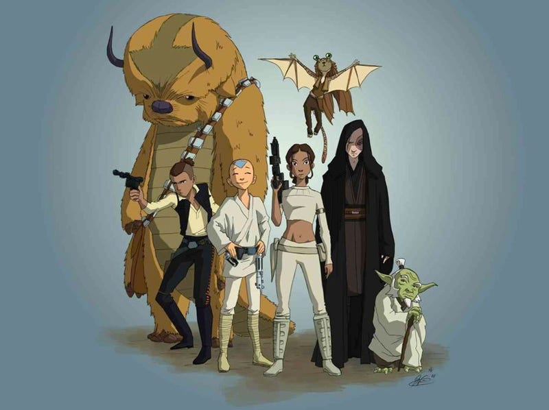 Illustration for article titled This is the Airbender/Star Wars mashup we need: Avatar Wars!