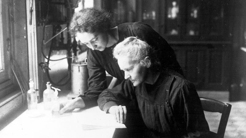 Marie Curie with her daughter Irene in Paris, 1927.