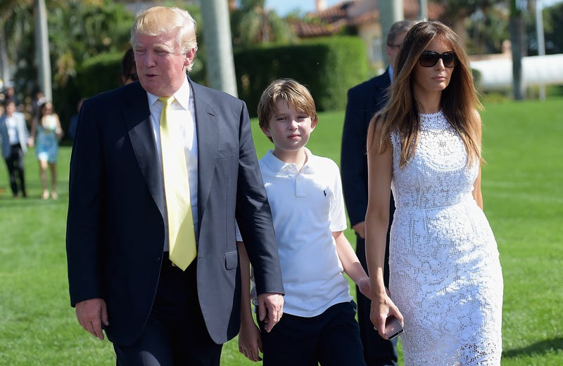 Donald Trump, Barron Trump and Melania Trump attends Trump Invitational Grand Prix Mar-a-Lago Club at The Mar-a-Largo Club on January 4, 2015 in Palm Beach, Florida.