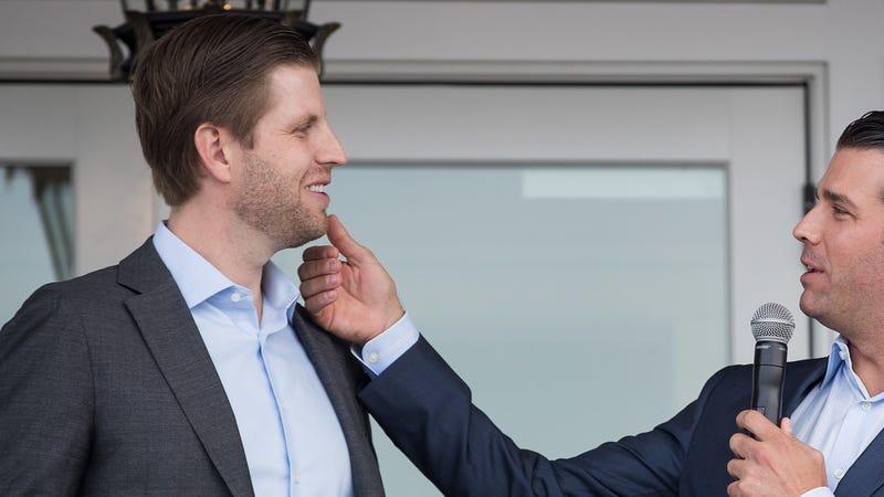 L to R) Eric Trump and Donald Trump Jr.,
