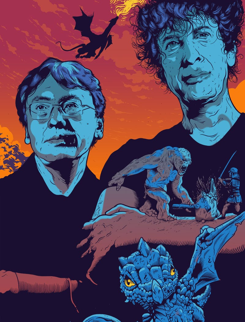 """Illustration for article titled Neil Gaiman and Kazuo Ishiguro: """"Let's talk about genre"""""""
