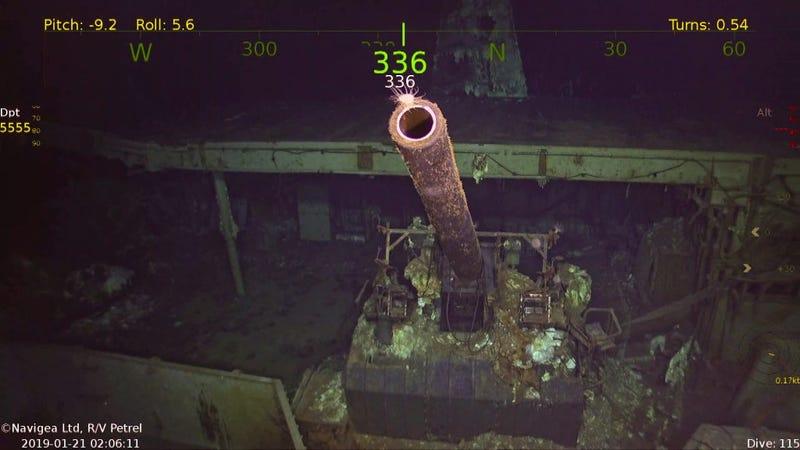A 5-inch gun on the USS Hornet.