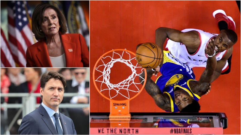 Illustration for article titled Nancy Pelosi, Justin Trudeau squander pandering opportunity with generic NBA Finals food bet